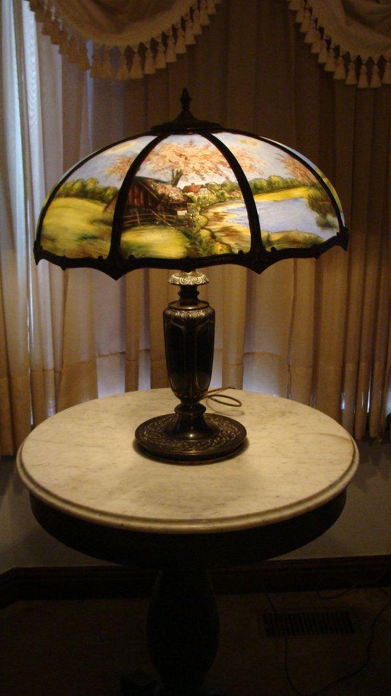 C 1920 S Reverse Painted Table Lamp Handel Era By