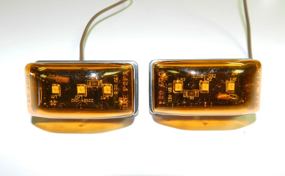 2 3 Led Light Amber 1 1 8 X 2 1 8 Stud Mount Clearance Marker Trailer Mcl 95 Led Lights Candle Jars Markers