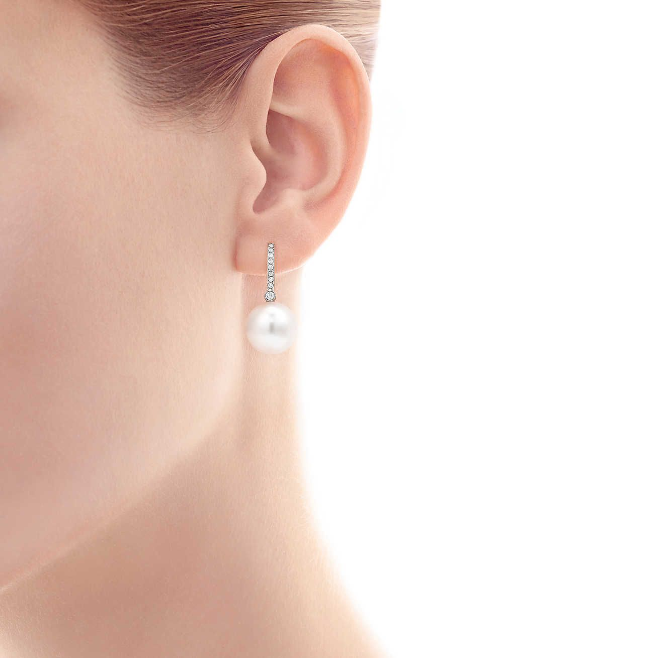 Tiffany South Sea Le Earrings In Platinum With Cultured Pearls And Diamonds