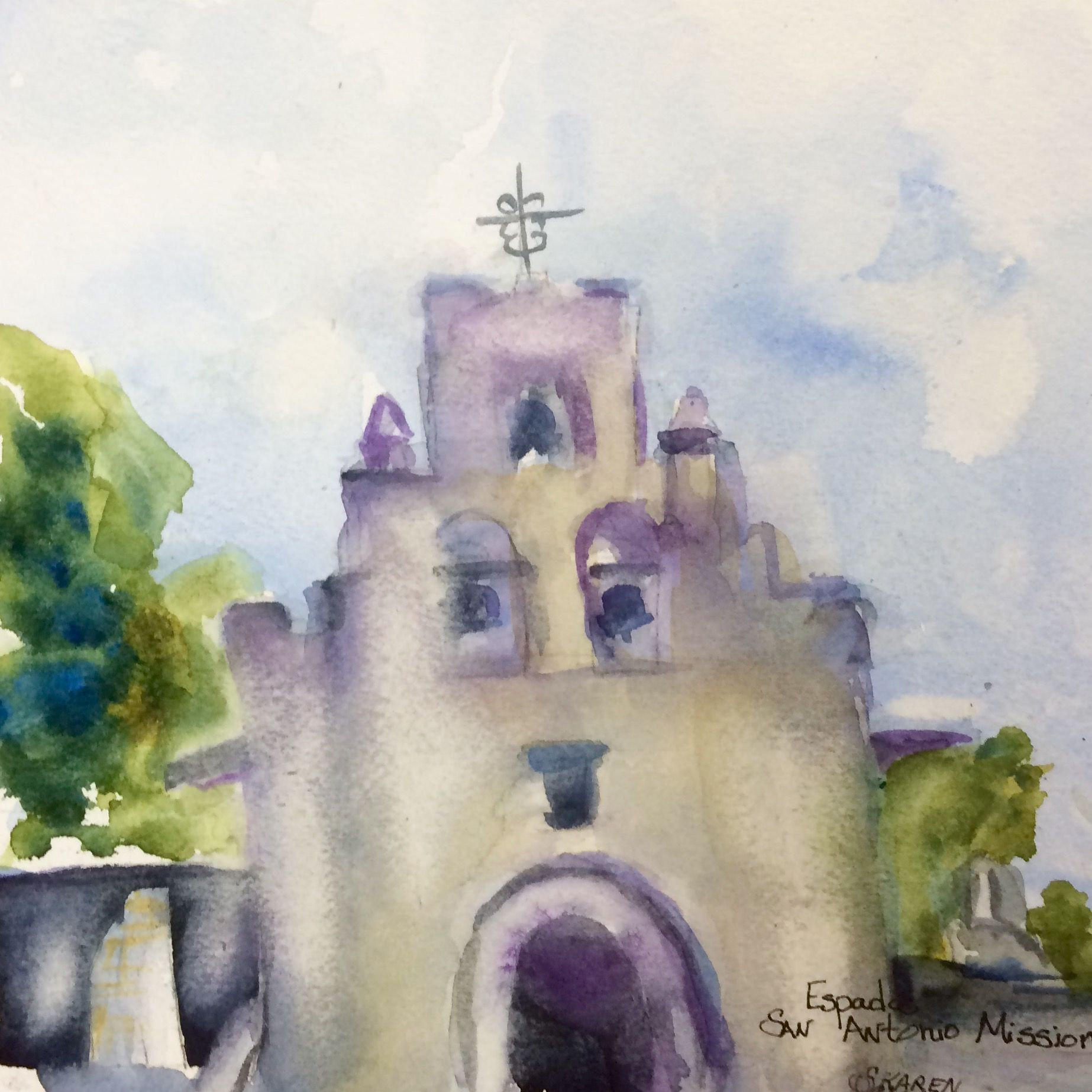 Watercolor artist in texas -  Mission Espades In San Antonio By Texas Watercolor Artist Karen Scherrer