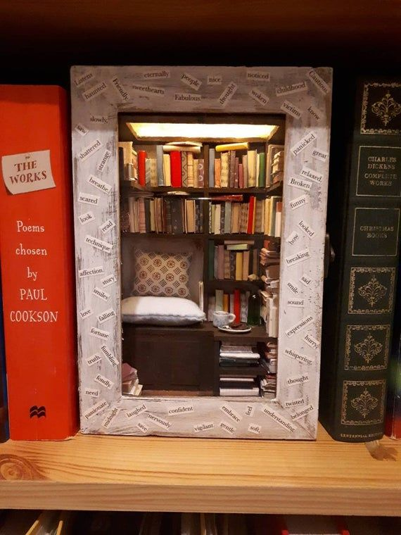 Miniature Book Nook Room * Cosy Reading Room * shadow box * doll house room * shelf insert * Book Nook * miniature library * lit * light