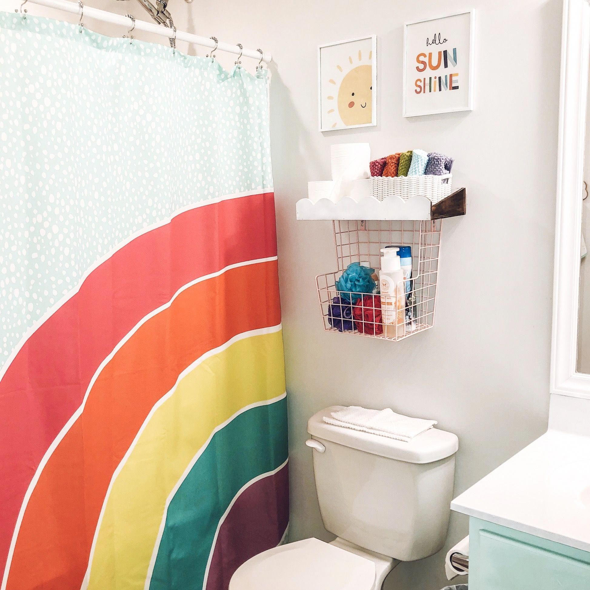 Children S Rainbow Bathroom Using Target S Pillowfort Rainbow