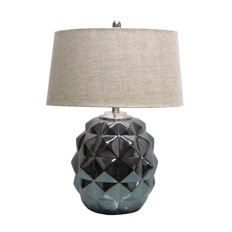 Jeco 28 Inch Ceramic Table Lamp (Crystal Base), Black
