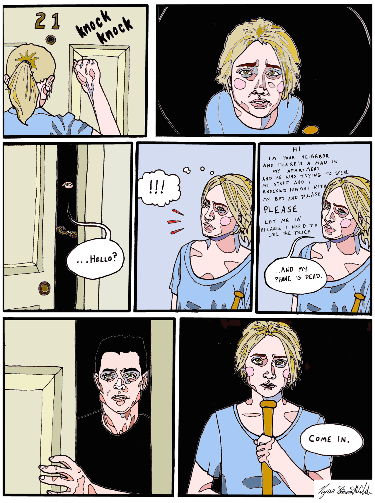 """i illustrated a scene from @veryspookybisexual's Until Dawn fic """"I could be"""