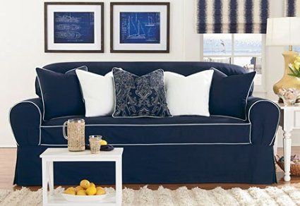 Monaco One Piece Sofa Slipcover Midnight Bluewhite Sure Fit