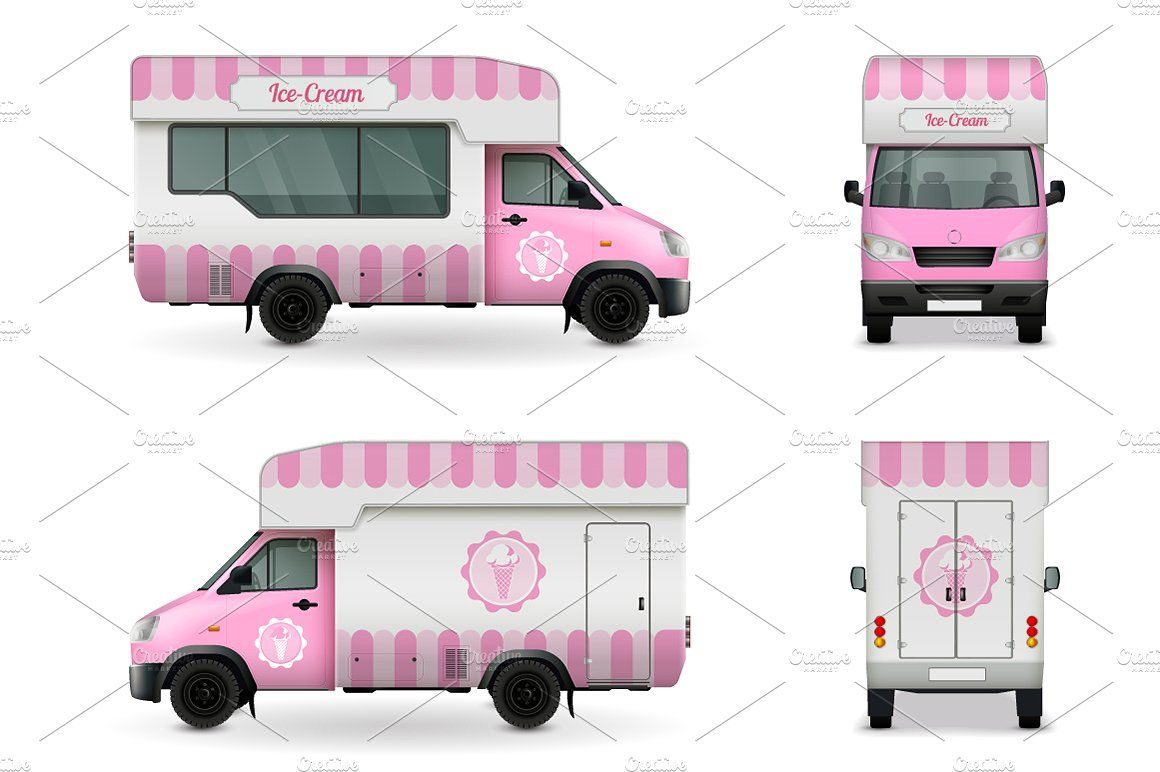 Food Trucks Realistic Set Food Truck Coffee Delivery Minimalist Business Cards