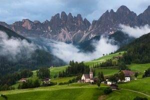 Dolomites Italy Forest  River Mountain Nature Landscape HD POSTER