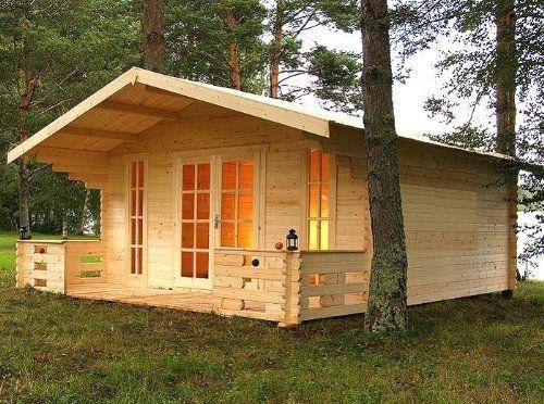 Gartenhaus Blockhaus 500x450cm + 150cm Veranda Holzhaus
