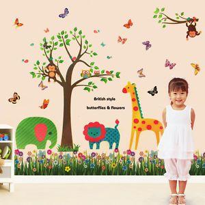 Colourful Butterfly Animal Grass Tree Nursery Kids Wall Sticker Mural Paper Art