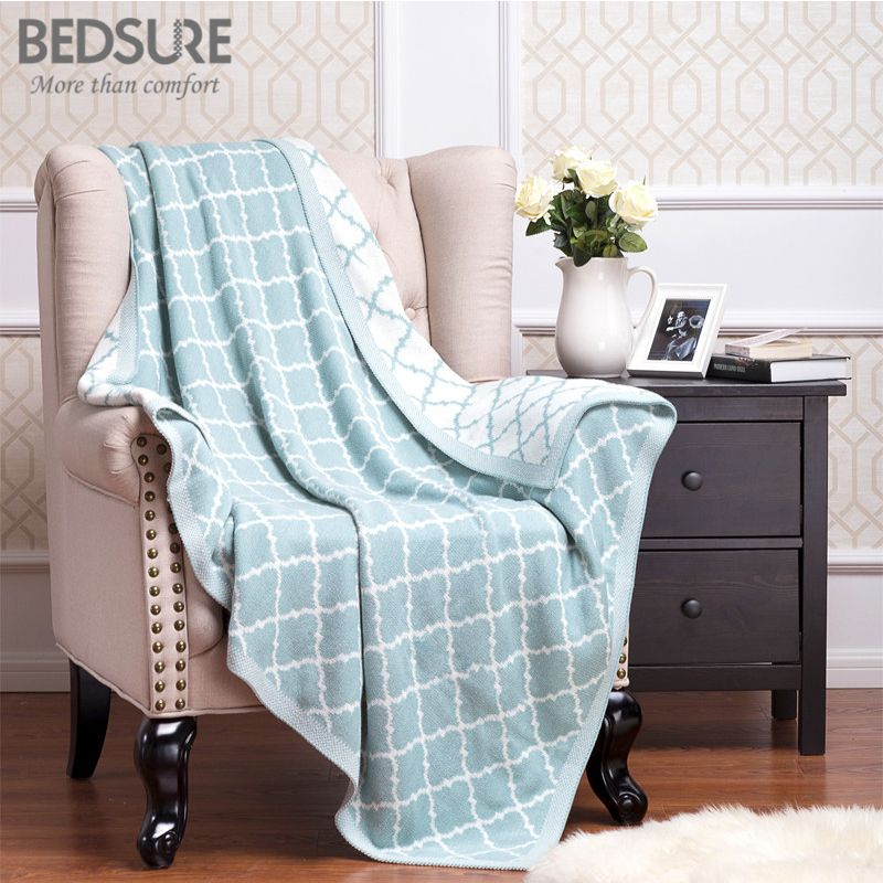 Throw Blankets For Couches Mesmerizing Bedsure Knit Throw Blanket 100% Cotton Knitted Blanket Adult Blanket Inspiration
