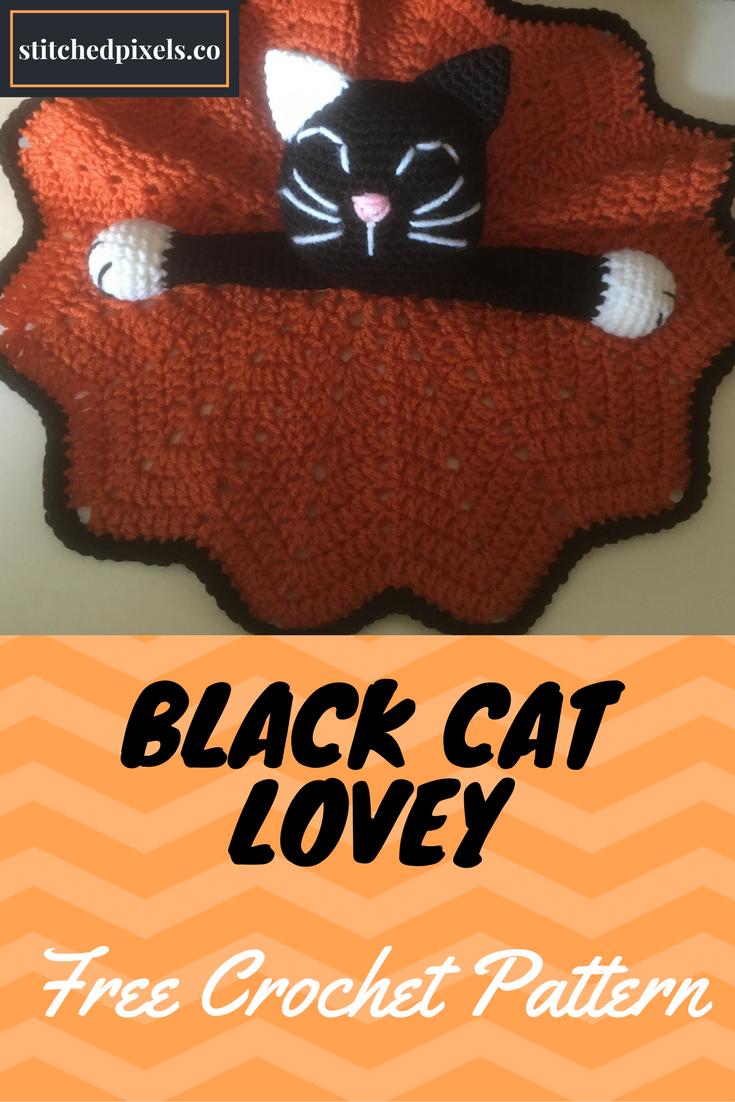 Black Cat Lovey – Stitched Pixels   Crochet items   Pinterest