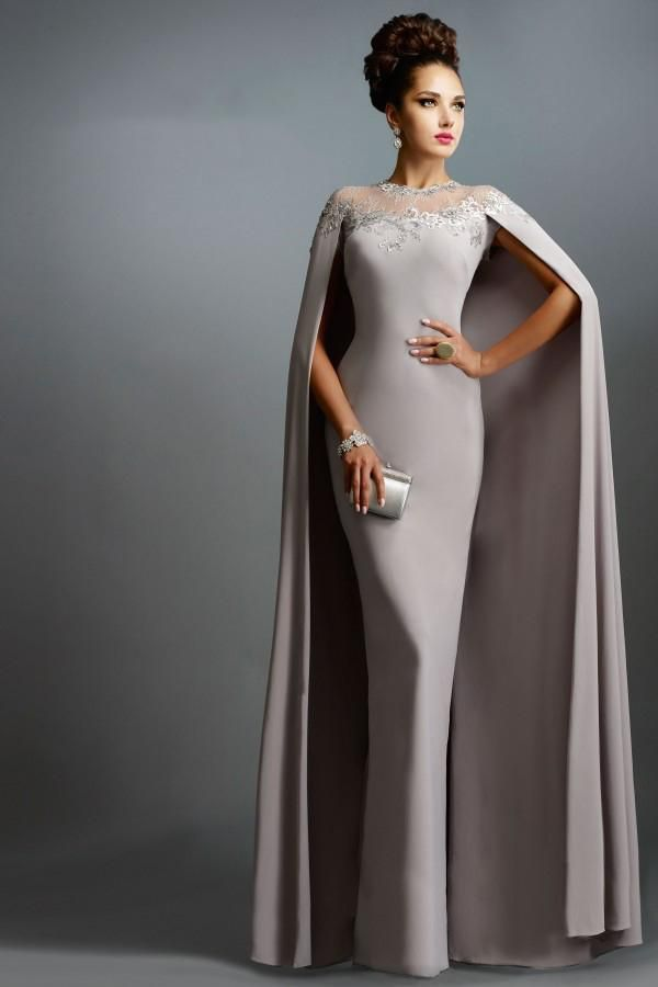 Janique Dresses Champange Chiffon Long Mermaid Mother of the Bride Dresses With Cape 2015 Long Formal Evening Gowns abendkleider
