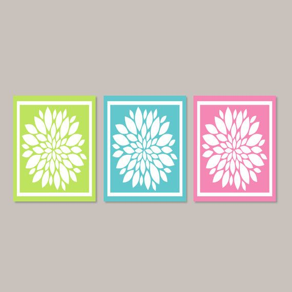 Teen Girl Wall Art teen girl wall art, teen girl room decor, lime pink teal, bathroom