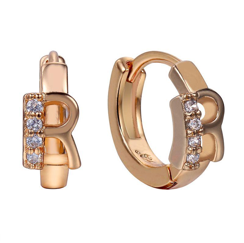 2017 Letter R Best Friend Hoop Earrings High Quality AAA Cubic
