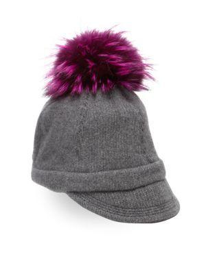 d3ebc5e99 PORTOLANO Fox Fur Pom-Pom & Cashmere Cap. #portolano #cap ...