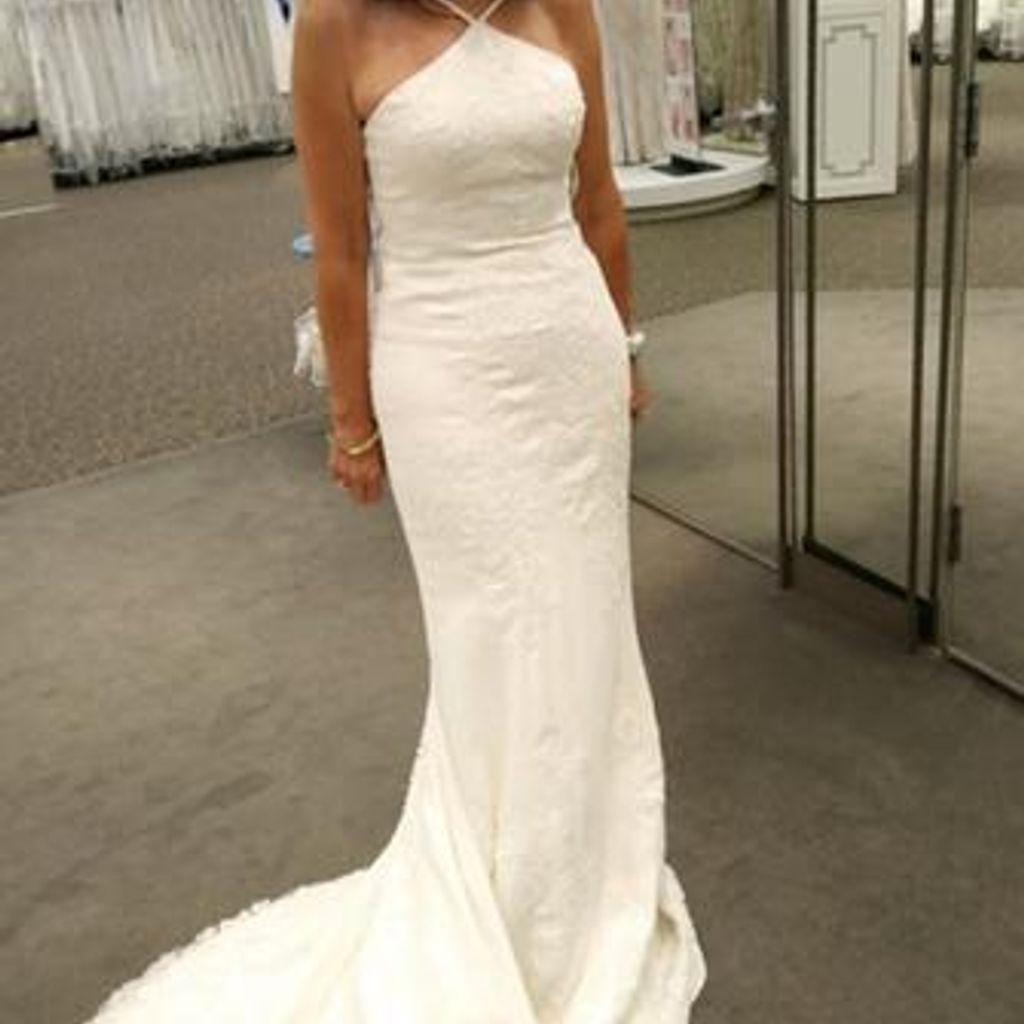 White by vera wang halter sheath wedding dress davidus bridal