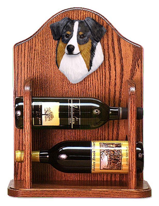 Australian Shepherd Dog Wood Wine Rack Bottle Holder Figure Blue Merle available at www.DogLoverStore.com