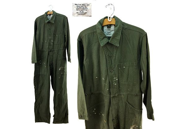 3771559928f Vintage 60s - 70s Olive Military Coveralls LARGE - Flight Suit - Boiler Suit  - Work-Wear - Mechanic