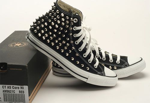 Rock Genuine Stud Custom Punk Converse Spike Made Silver Black B55qwPR8