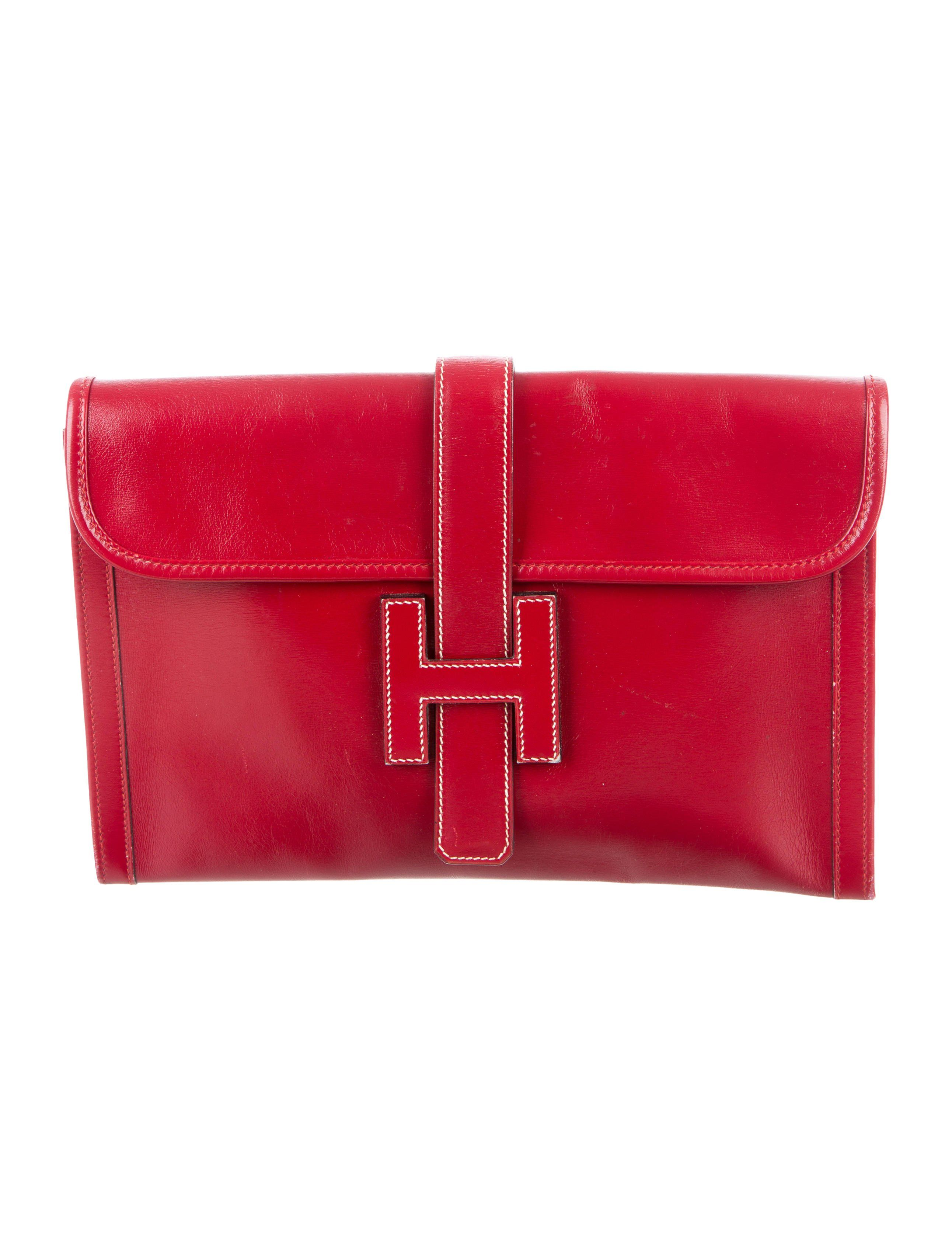 a7409d3cf645 Vermillion Box leather Hermès Jige 29 with creme stitching throughout