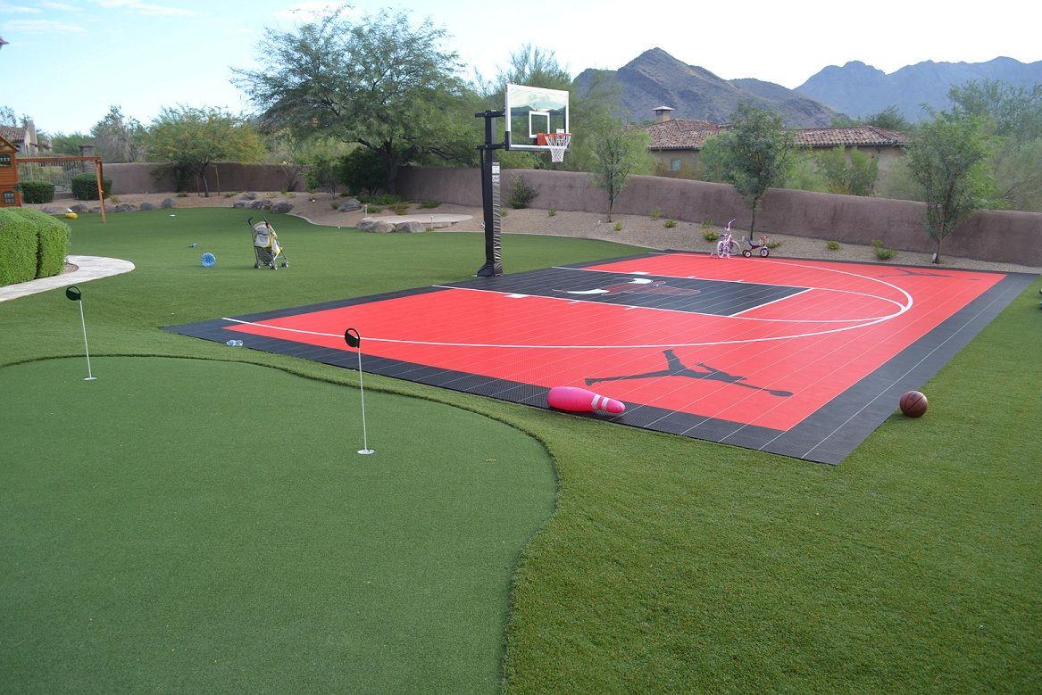 Half Court With Putting Green Basketball Court Flooring Backyard Sports Indoor Basketball Court