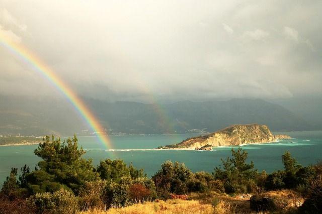 A rainbow over the hills near Budva, Montenegro.