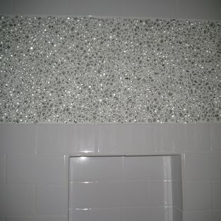 Recycled Glass Pebble Tile Shower Oooh Shiny Maybe Not Square Glass Tile This Is Pretty