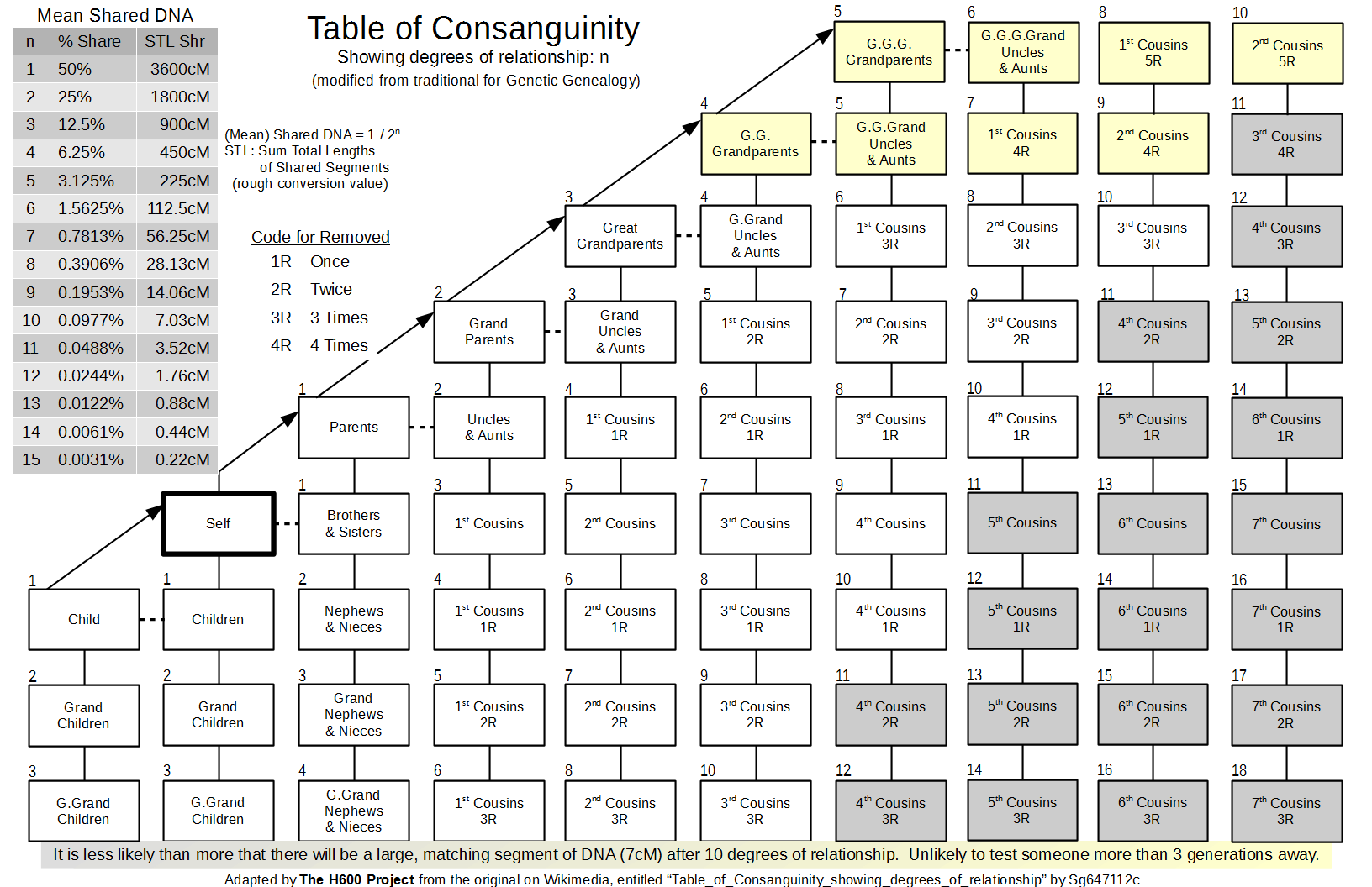 the traditional table of consanguinity with the degree of relationship modified to for genetic