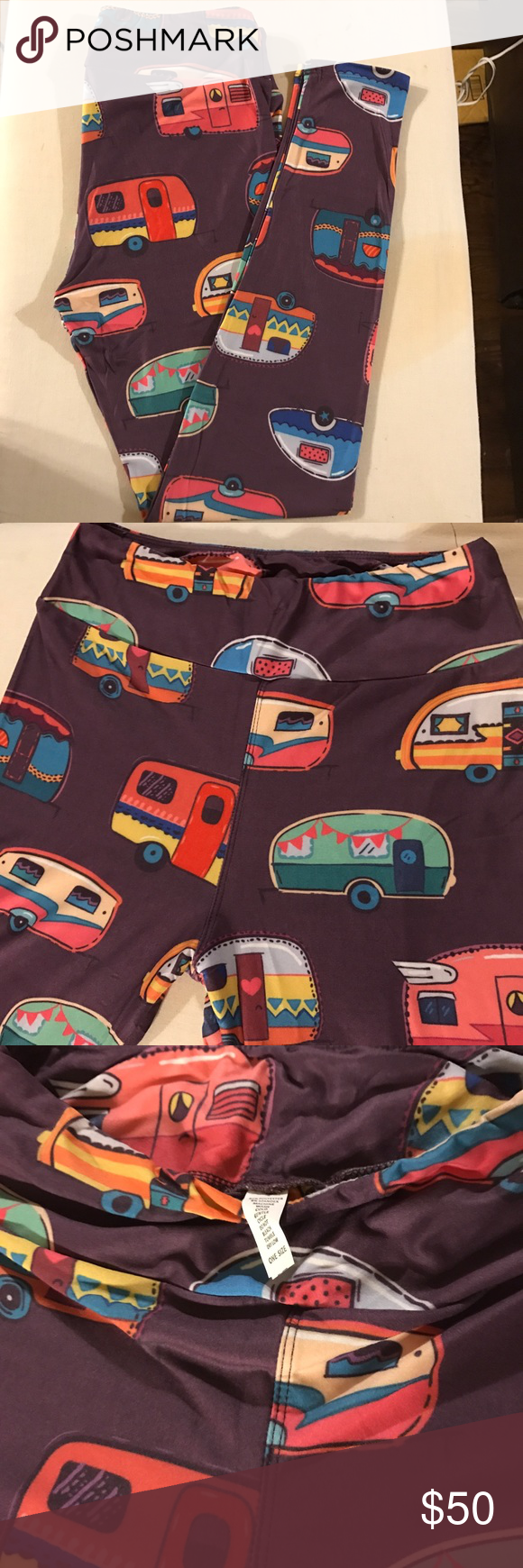 Camping camper leggings ✳A must have print for all avid campers to wear while camping. perfectly awesome, soft with comfortable yoga waistband  ✅Material : 92% polyester + 8% spandex, soft milk blend  ✅Size: OS ✅Condition : Brand new in package. No tags attached! ✅Waist band: wide Yoga waist band (see 2nd pic) with elastic at the top  *Please check pictures and ask question. No returns pls :) pls re-list if not happy!  ⛔️not Lularoe camping legging Pants Leggings