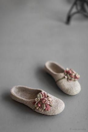 Photo of Women felted slippers house shoes Beige clogs with moss green marsala flower Organic wool clogs Eco