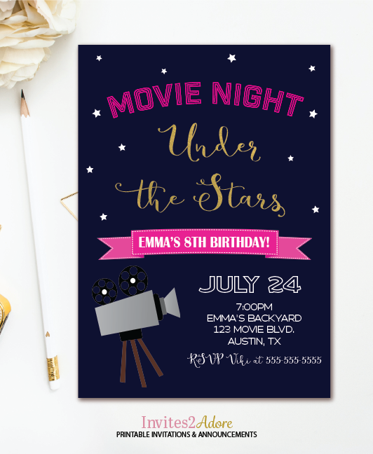 Superbe Movie Night Birthday Invitation   Under The Stars Outdoor Movie Party   Backyard  Movie Birthday Invite   Girl Movie Printable Invitation