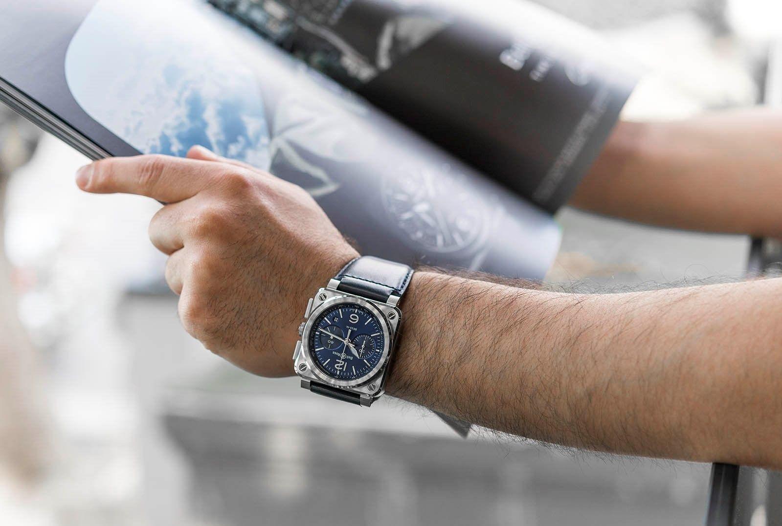 db547b55b Letecké pánské hodinky Bell & Ross Blue Steel☑ -Datumovka -Chronograph  -Safírové sklo