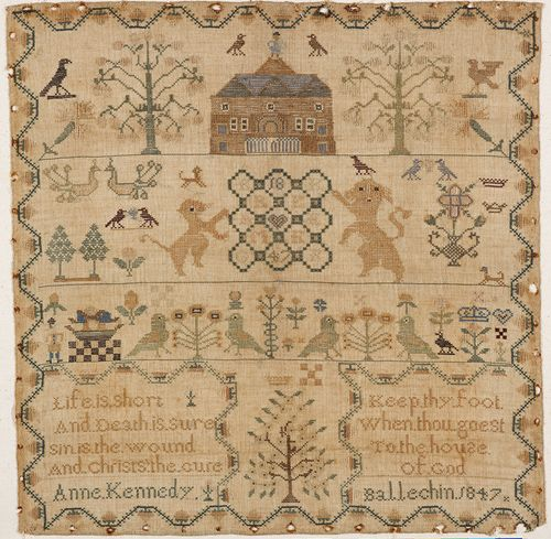 Sampler produced by Anne Kennedy in 1847. Collection of Fife Council Museums.