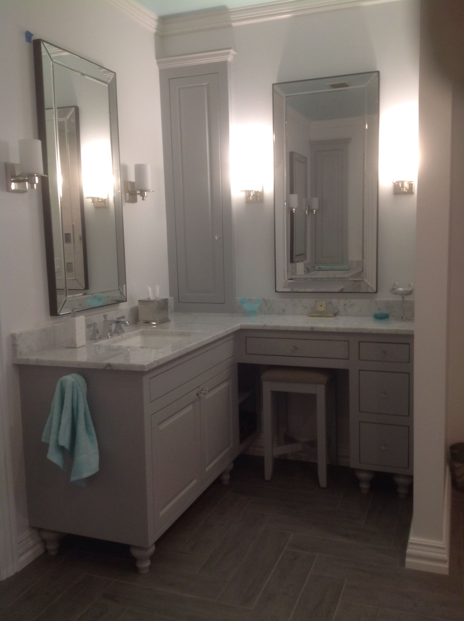 Judy s vanity area with stool Kohler Memoirs sink and faucet