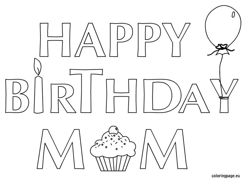 happy birthday mom coloring pages # 2