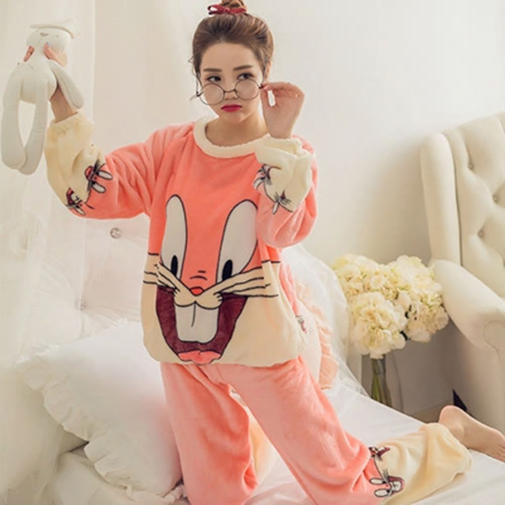 0cbe49da03 Winter Hot Thick Women Coral Velvet Pajama Set Home Wear Sleepwear Suit Warm  Soft Korean Cute Rabbit Two Pieces Suits Girl