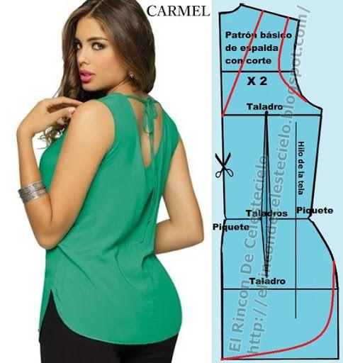 d92ce72127 Blusa manga sisa escote en V sobre corte en el centro de la espalda con  abertura curva en el largo y el patrón