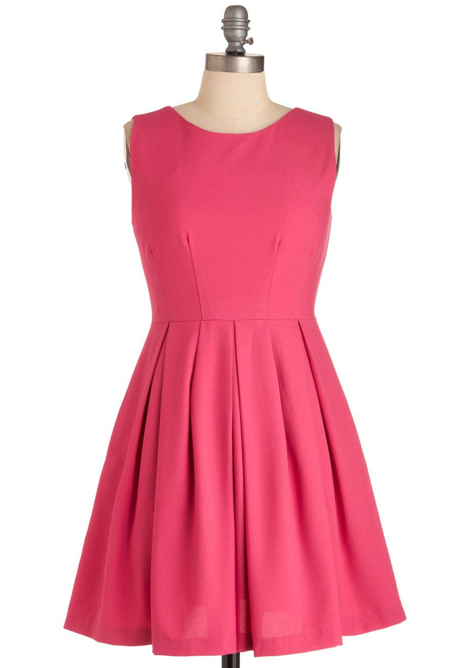Cue the Compliments Dress in Pink - Short, Pink, Solid, Pleats ...