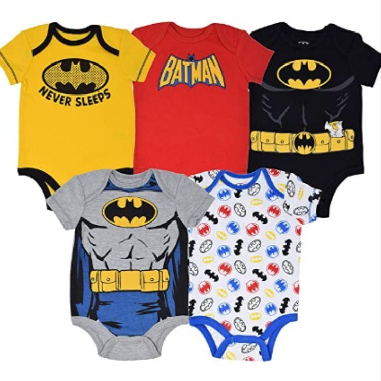 Warner Bros Batman Robin Baby Boys 5 Pack Bodysuits Joker and Riddler