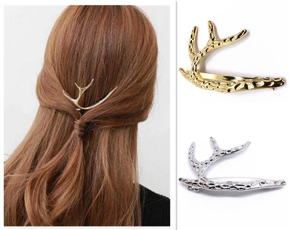 9.63$  Watch now - http://vijmv.justgood.pw/vig/item.php?t=bebpkxr12850 - QTMY 2 PCS Metal Antlers I-shaped Hairpin Hair Clips Hair Accessories