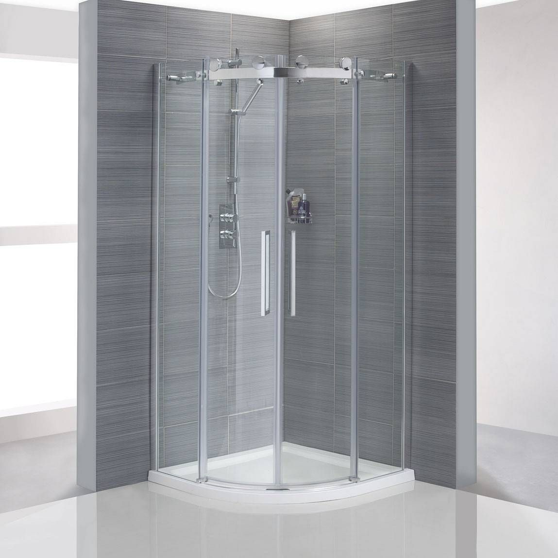 v8 frameless quadrant shower enclosure 900 tray waste