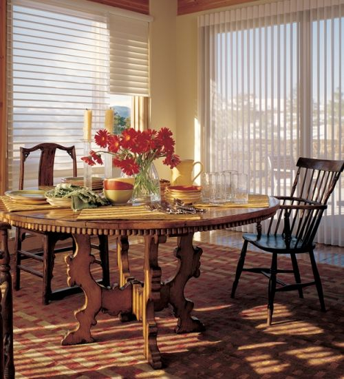 Hunter Douglas Luminette Privacy Sheers Counterparts in Dining Room #interior #design #blinds