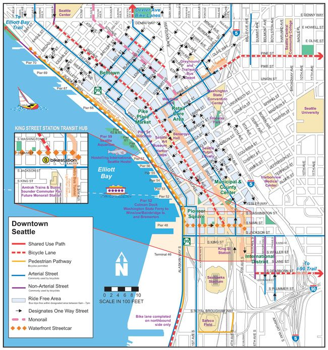 Printable Map of Downtown Seattle | Map Of Downtown Seattle Wa ...