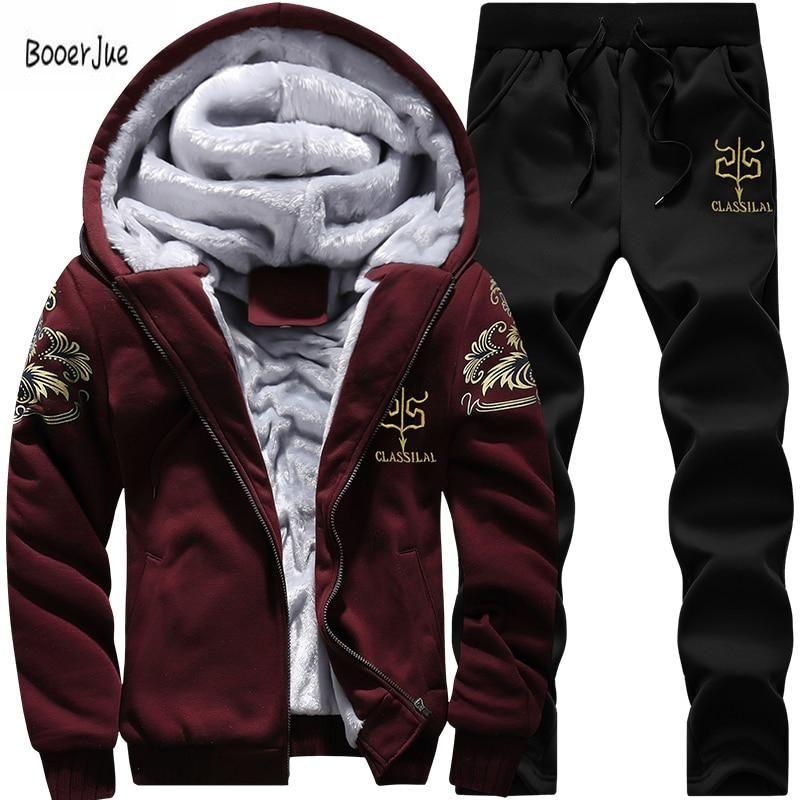 2cafe8006c565 Tracksuit Men Winter Fleece Thick Hooded Casual Outwear Pants Warm Fur  Inside Zipper Moleton Masculino Winter Sweatshirt 2019