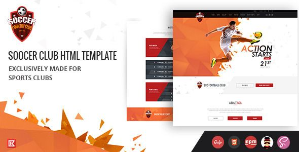 Soccer Club | Sports Club Html Template | Website design, creative ...