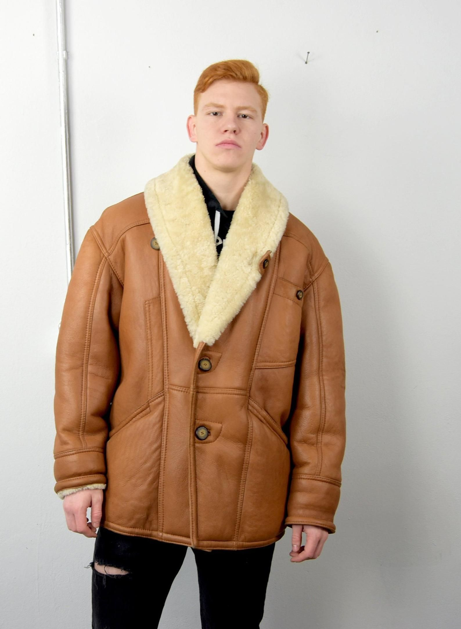 Men's Shearling Jacket.Men Sheepskin Coat 1970's Real