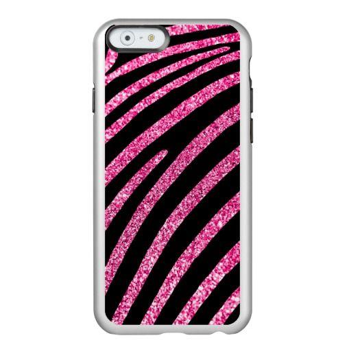 Girly Hot Pink Glitter and Black Zebra Stripe Incipio Feather® Shine iPhone 6 Case