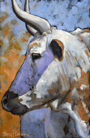 """Cool Glance"" - oil painting by Amy P. Collins #cows #field #painting #nature #outdoors #animals #family"