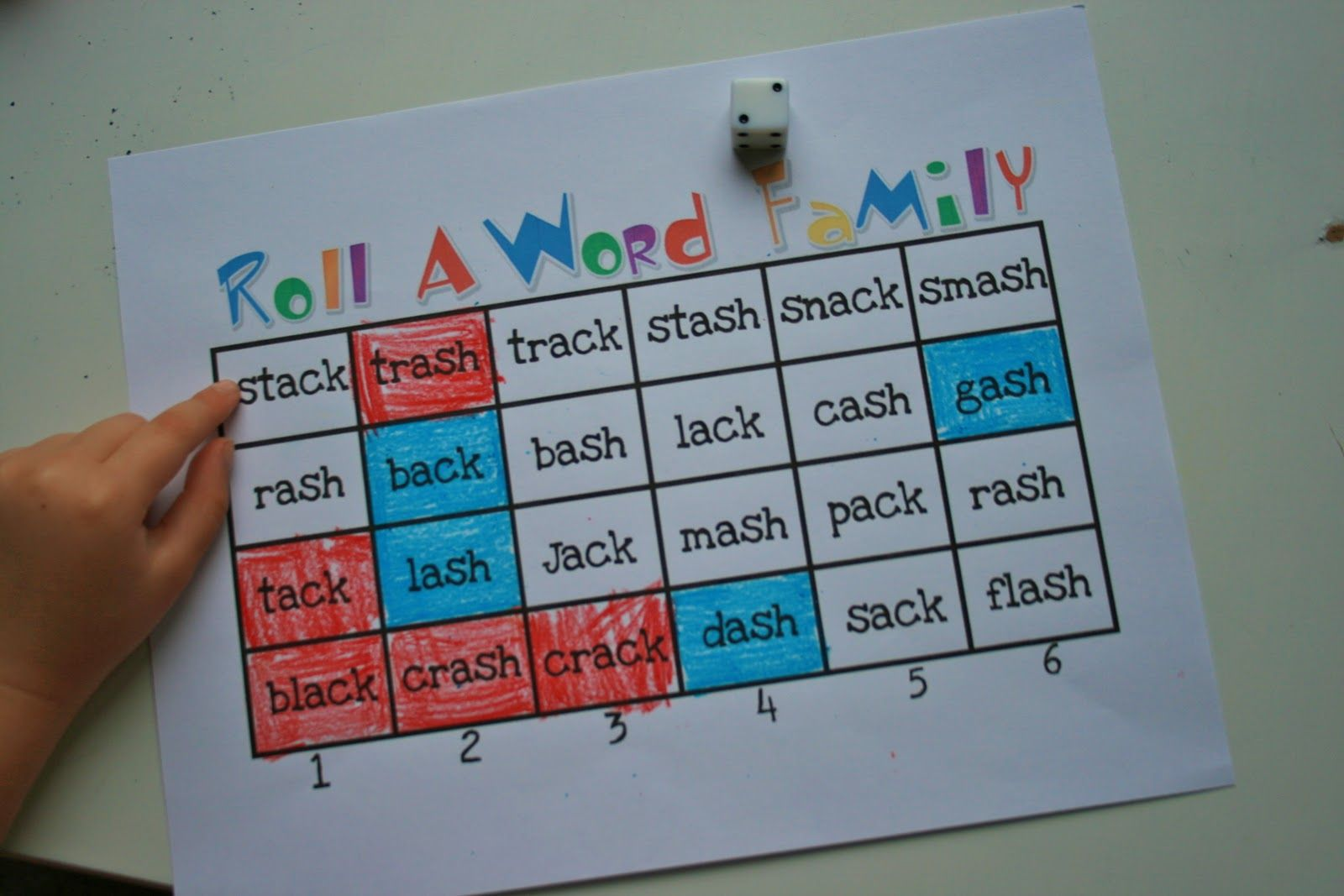 Roll A Word Family Game