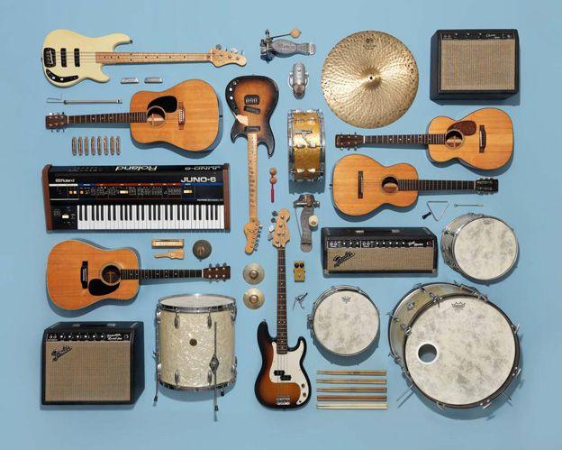 Instrument collection dessinner silhouette de l'instrument de face et de profil, comme une boite médoc